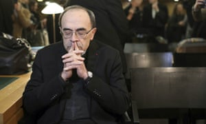 Cardinal Philippe Barbarin waits for the start of his trial at the Lyon courthouse on 7 January.