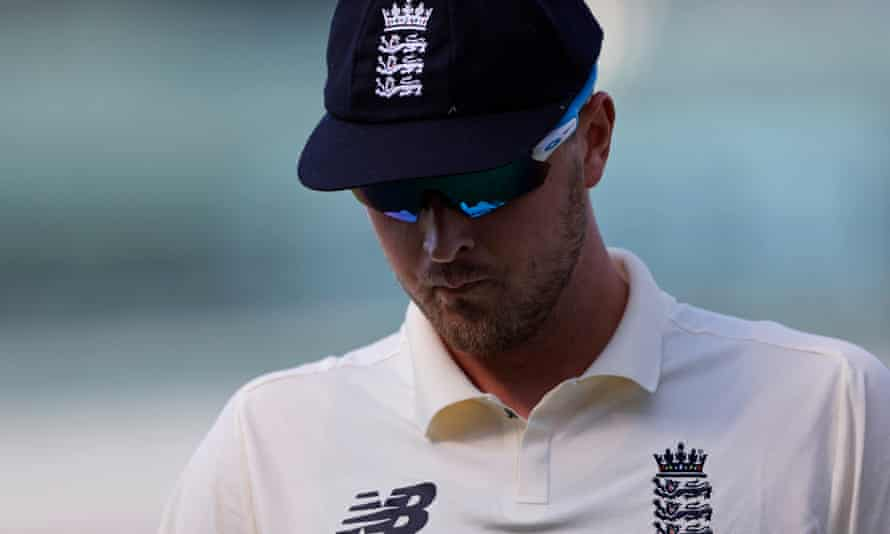 Ollie Robinson deep in thought during day four of the England v New Zealand first test match at Lord's.