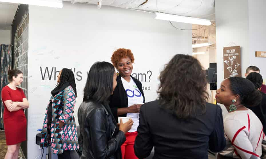 Networking at digitalundivided, an incubator for startups founded by black and Latina women.