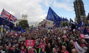 Demonstrators gather in Parliament Square in central London on October 19.