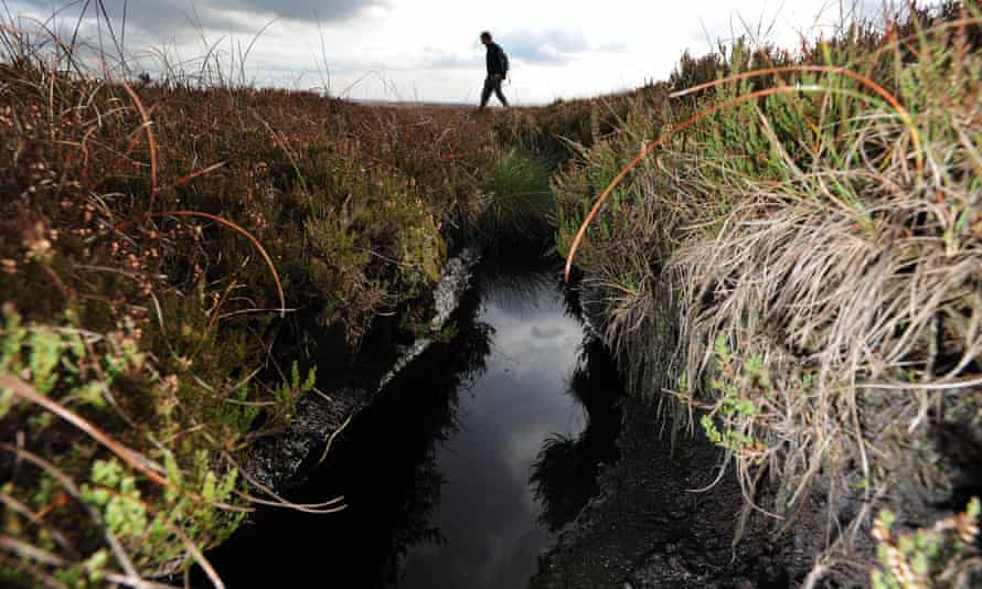 A drain cut into blanket bog on the Walshaw Moor estate in the Pennines above Hebden Bridge.
