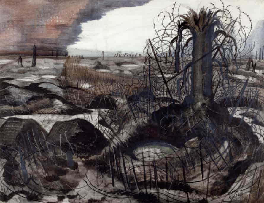 'Bitter truths to burn their lousy souls' … Wire by Paul Nash (1918).