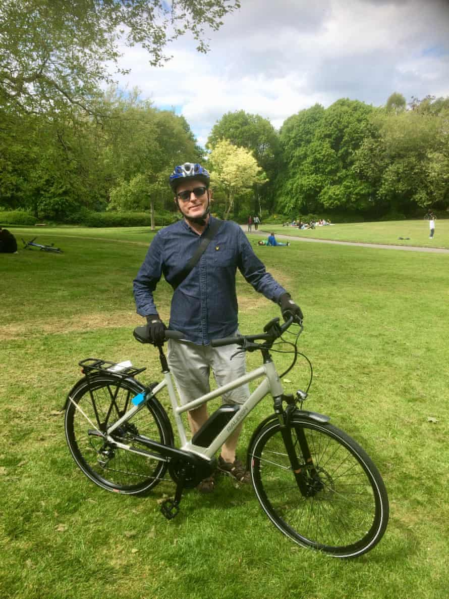 Patrick Collinson with his Raleigh electric bike