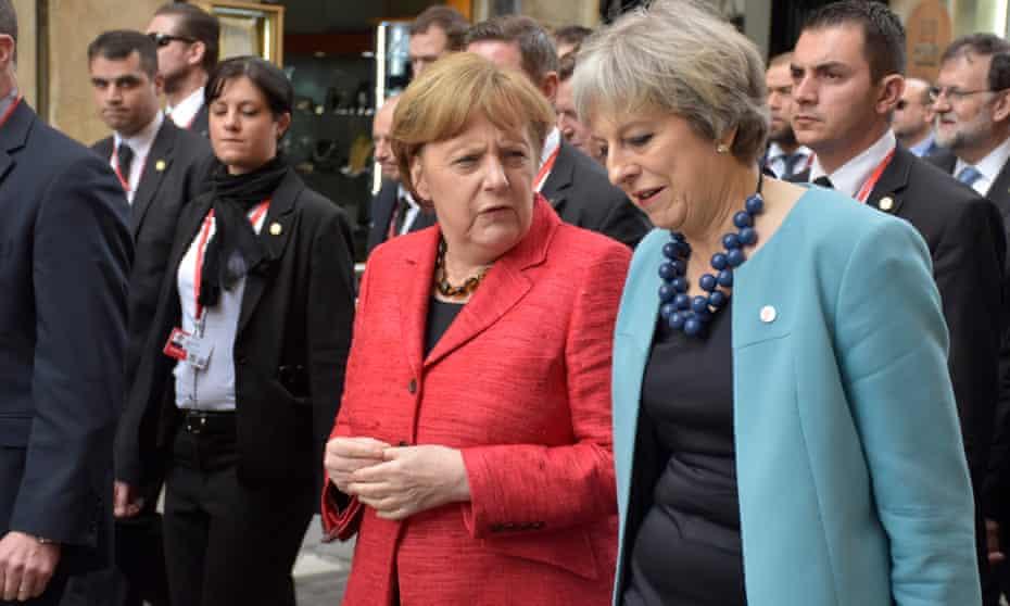 Theresa May with Angela Merkel at the EU summit in Malta
