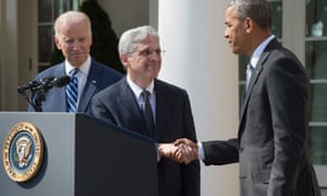 Barack Obama and Joe Biden with Merrick Garland, Obama's supreme court nominee.
