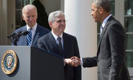 Barack Obama and Joe Biden with Merrick Garland, Obama's Supreme Court nominee.