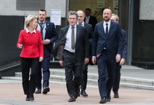 The European commission president, Ursula von der Leyen, the European parliament president, David Sassoli, and the European council president, Charles Michel, arrive at the European parliament for a press statement on the future of Europe after Brexit