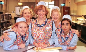 Victoria Wood and fellow cast members from the BBC show Dinnerladies.