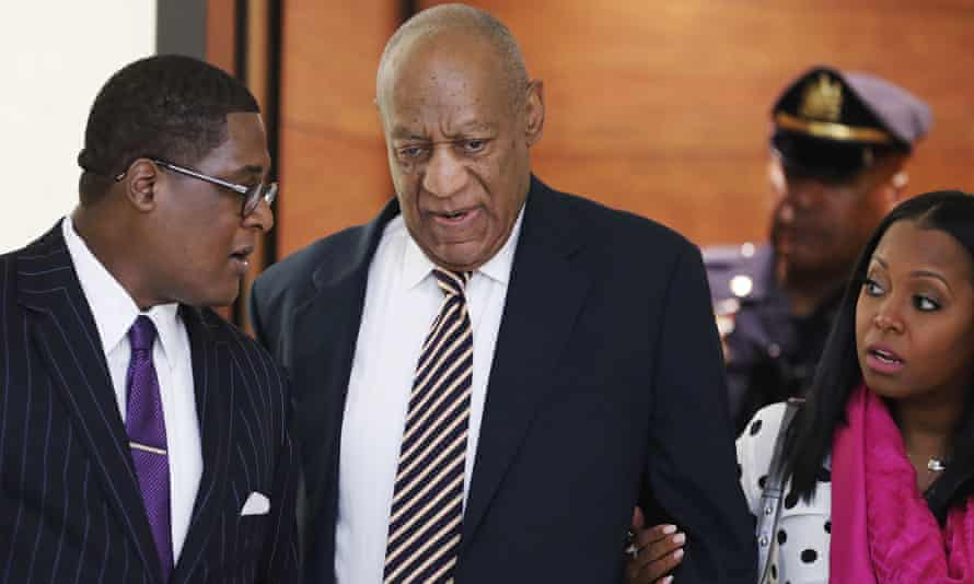 Bill Cosby arrives for his sexual assault trial with Keshia Knight Pulliam, right, at the Montgomery County courthouse in Norristown, Pennsylvania.