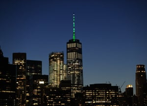 The governor of New York, Andrew Cuomo, in response to Trump's decision to pull the US out of the Paris climate accord, illuminates One World Trade Center with green lighting