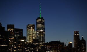 New York's One World Trade Center illuminated in green light