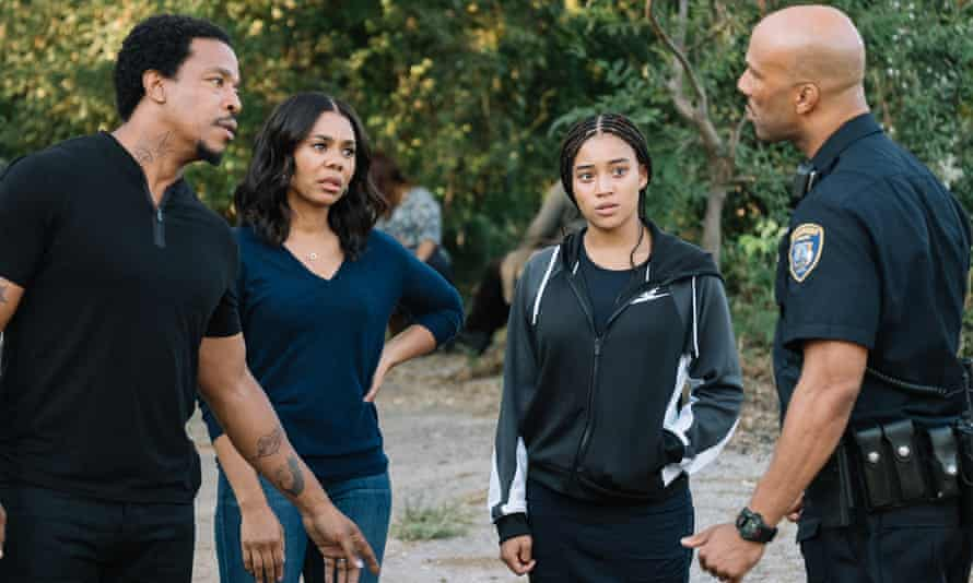 Not a fair cop: Russell Hornsby, Regina Hall, Amandla Stenberg and Common.