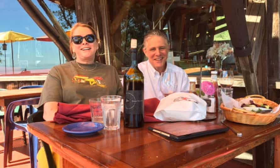 Anne and Ted Meyer, who helicoptered into Big Sur, lunching at Nepenthe restaurant.