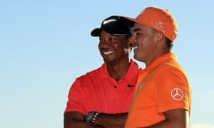 Rickie Fowler with Tiger Woods after winning the Hero World Challenge