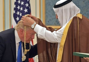 Donald Trump receives the Order of Abdulaziz al-Saud medal from Saudi Arabia king Salman bin Abdulaziz Al Saud in Riyadh, Saudi Arabia, on 20 May 2017.