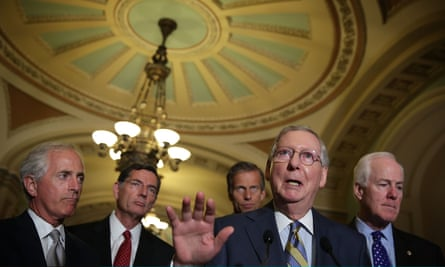 The Senate majority leader, Mitch McConnell, here flanked by fellow Republican senators, has said a Democratic filibuster on the Iran deal would be a 'tragedy'.