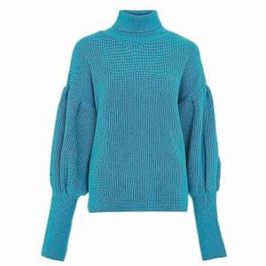 blue balloon knit jumper Topshop