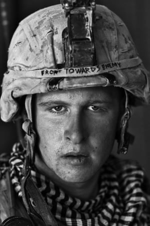 L/Cpl Damon 'Commie' Connell, 20, a US Marine, after a patrol in Garmsir district, Helmand province, Afghanistan. Damon is from Las Vegas and this was his first tour of Afghanistan