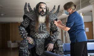 Mr Lordi of the Finnish hard rock band Lordi getting his second Covid-19 vaccination in Rovaniemi, Finland, at the beginning of August.