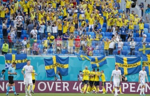 The Swedish fans and players celebrate after going ahead.