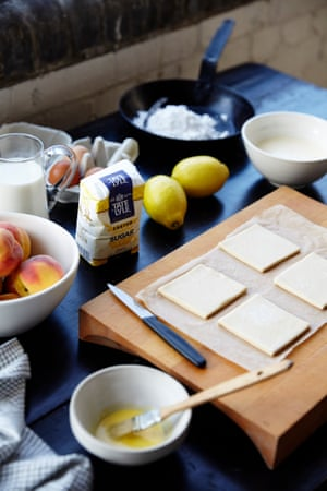 Roll out the pastry, cut into squares, paint with egg wash when ready to bake.