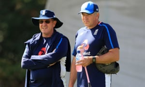 The new England coach, Chris Silverwood (right) is not as laid-back as his predecessor, Trevor Bayliss (left).
