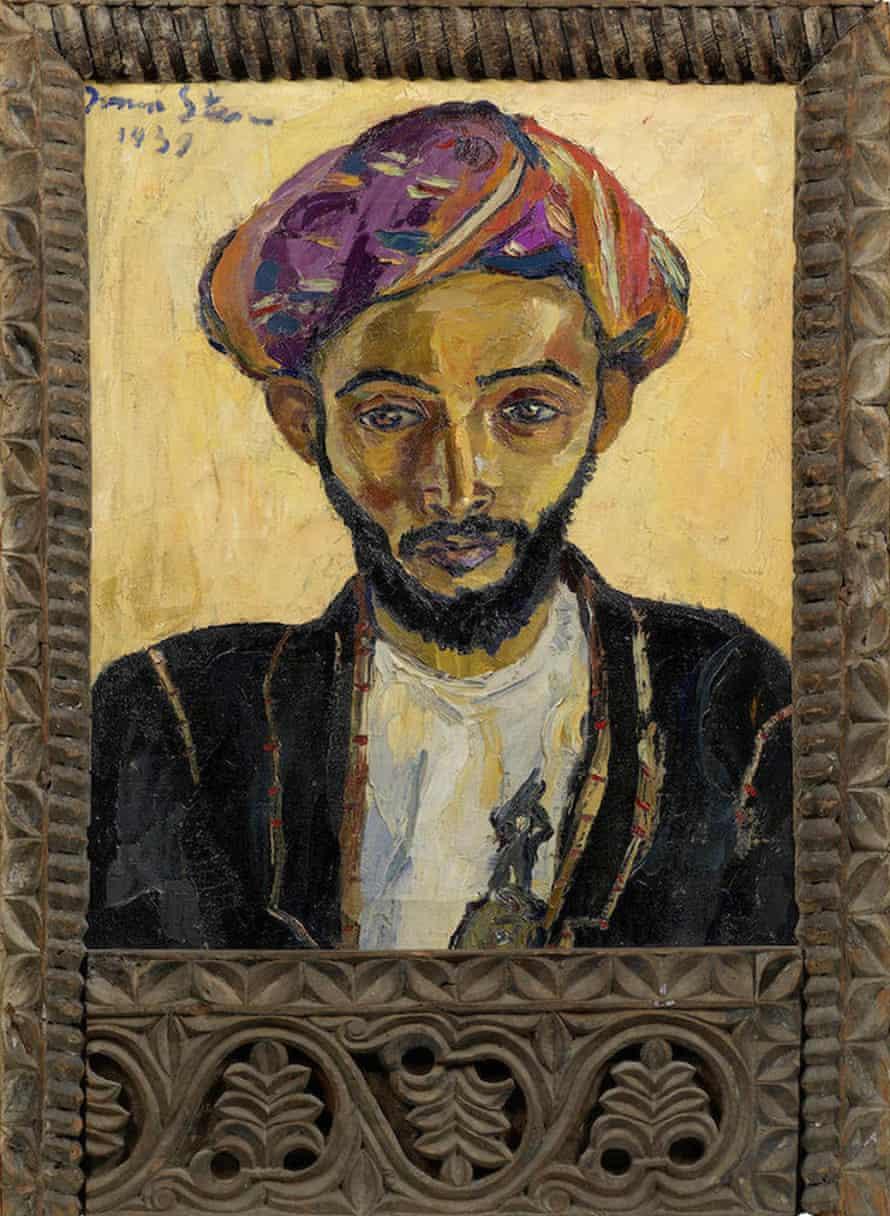 Irma Stern set 'Arab in Black' in an antique Zanzibar frame.
