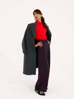 Long dark grey coat H&M, red jumper Stories, black wide legged trousers Topshop, black shoes with silver jewelled buckle Dune