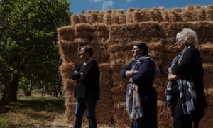 The Napoli sisters stand beside hay bales