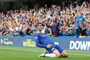 Alvaro Morata celebrates after scoring their second goal.