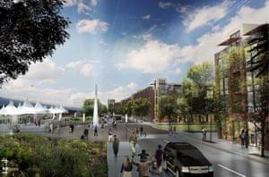 Illustration of the development around Peña Station