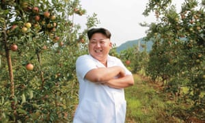 Kim Jong-un inspects a fruit farm: North Korea has enjoyed record harvests in recent years.