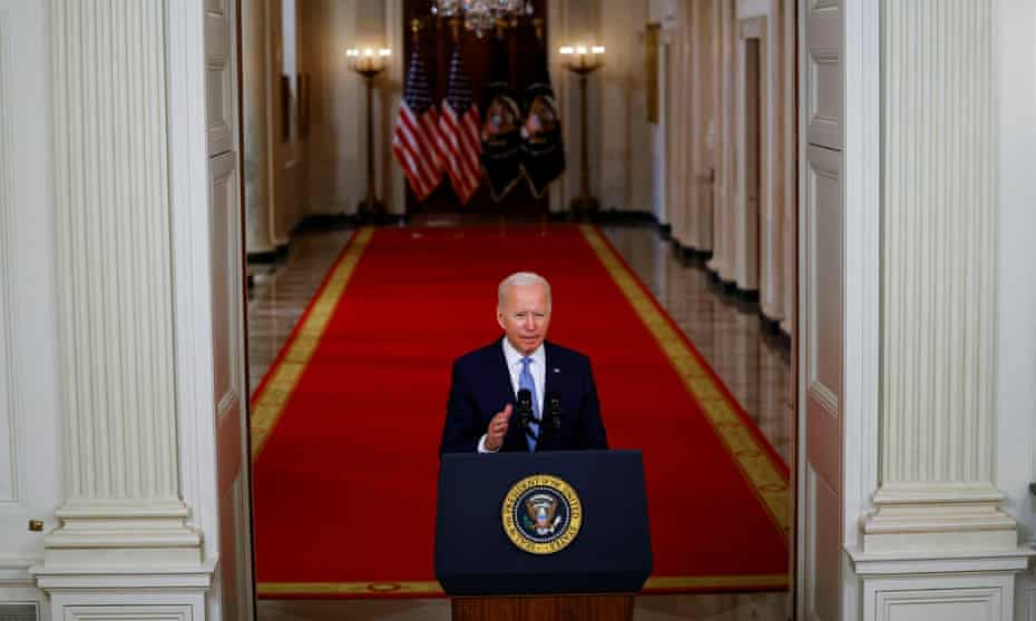 Joe Biden delivers remarks on Afghanistan during a speech at the White House on 31 August.