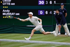 Andy Murray stretches for a return.