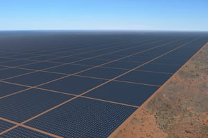 An artist's rendition of the 10GW solar farm with battery storage at the Newcastle Waters cattle station about 750km south of Darwin.