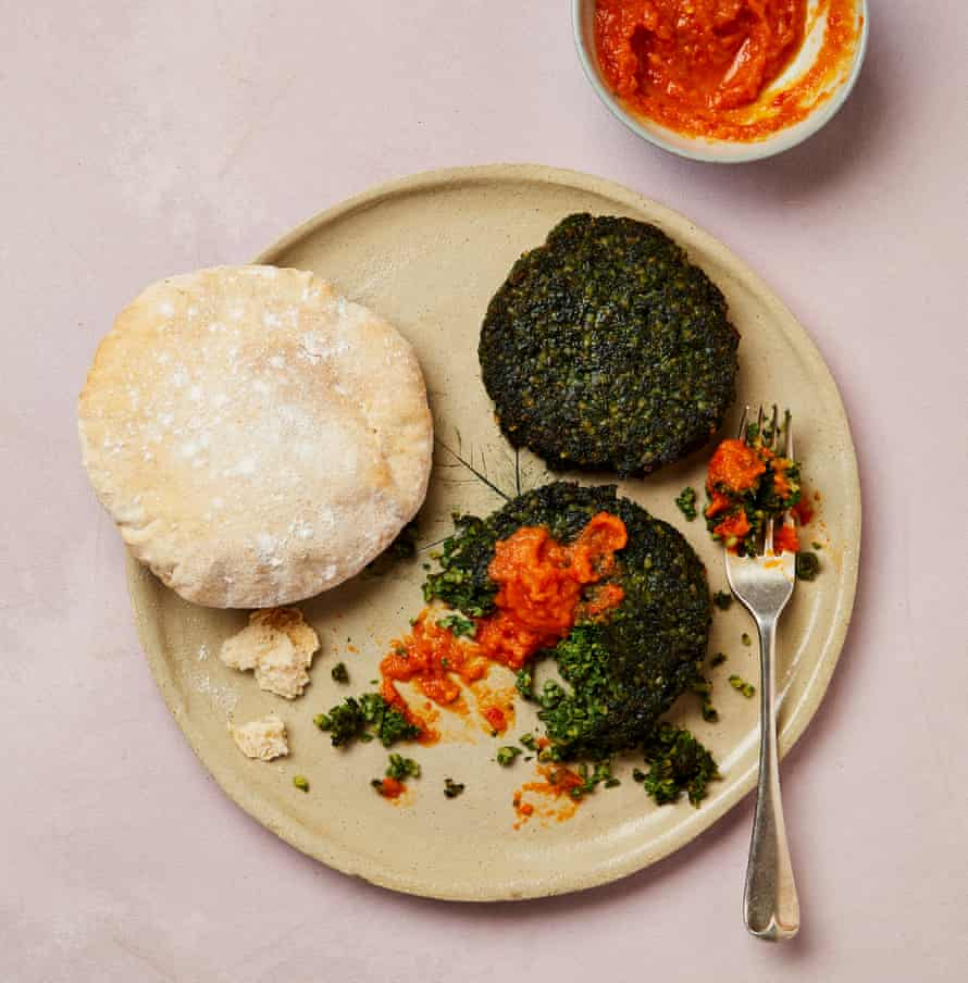 Yotam Ottolenghi's tabbouleh fritters with quick chilli sauce.