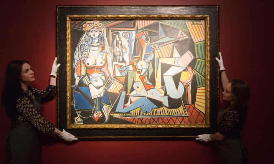 Christie's employees with Pablo Picasso's Women of Algiers