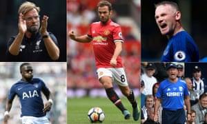 Jürgen Klopp, Juan Mata, Wayne Rooney, Moussa Sissoko and Tony Pulis.