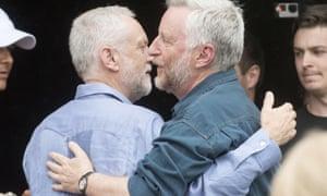 Corbyn and Bragg at Glastonbury 2017.