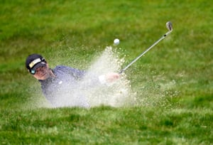 Yuka Saso plays a shot from a bunker on the final day.