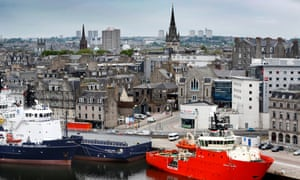 Aberdeen Harbour and city skyline.