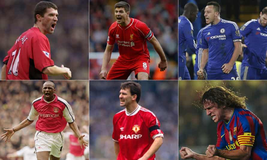 Clockwise from top left: Roy Keane, Steven Gerrard, John Terry, Carles Puyol, Bryan Robson and Patrick Vieira