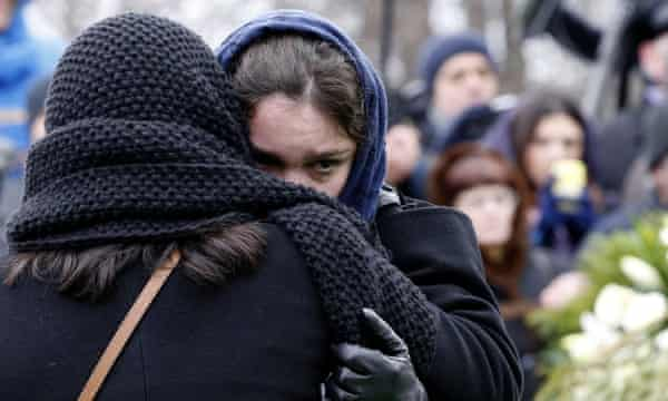 Zhanna Nemtsov mourns her father at the funeral of Boris Nemtsov in Moscow on 3 March.