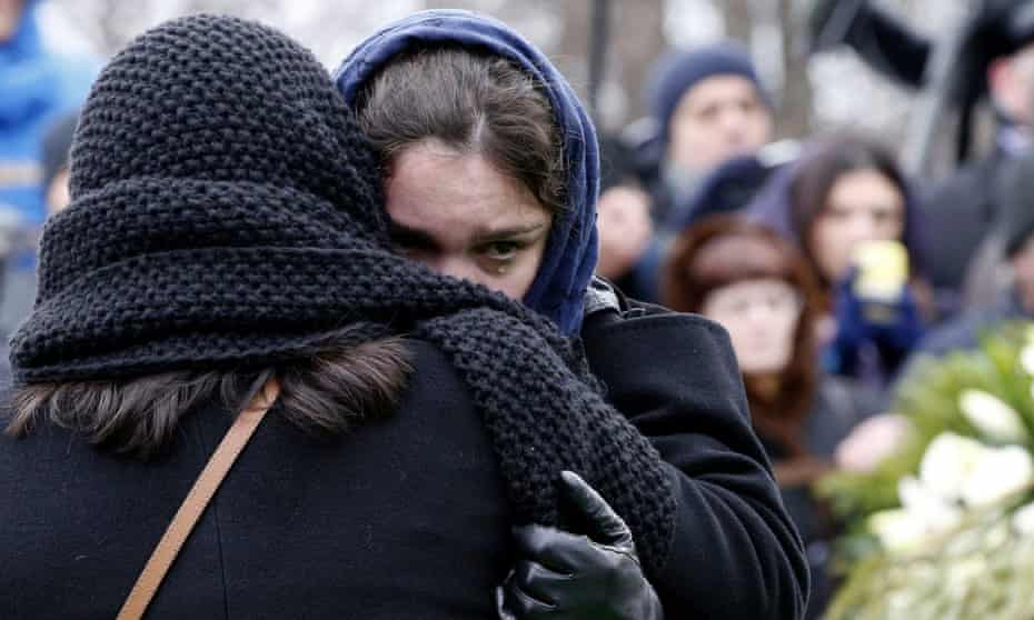 Zhanna Nemtsova, the daughter of leading opposition figure Boris Nemtsov, at his funeral in Moscow, March 2015.