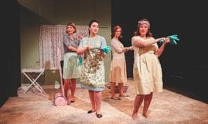 Flora McIntosh, Alexandra Stenson, Caroline Daggett and Kathryn Hannah in Eugene Onegin at the Arcola theatre.