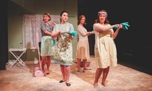 A young cast ensure we hear every word … Eugene Onegin by OperaUpClose. (From left) Flora McIntosh, Alexandra Stenson, Caroline Daggett, Kathryn Hannah.