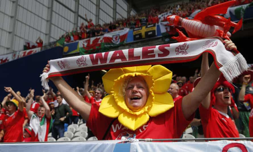 Wales supporters at the Euro 2016 group against England in Lens.