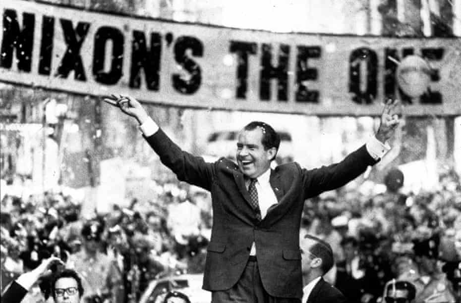 Richard Nixon campaigning for the presidency of the United States in 1968.
