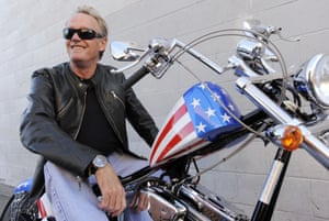 Fonda poses on a Harley-Davidson motorcycle in Glendale, California, on 23 October 2009