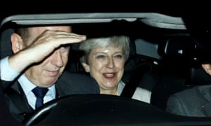 The former prime minister, Theresa May, leaves the Houses of the Parliament after Boris Johnson's defeat